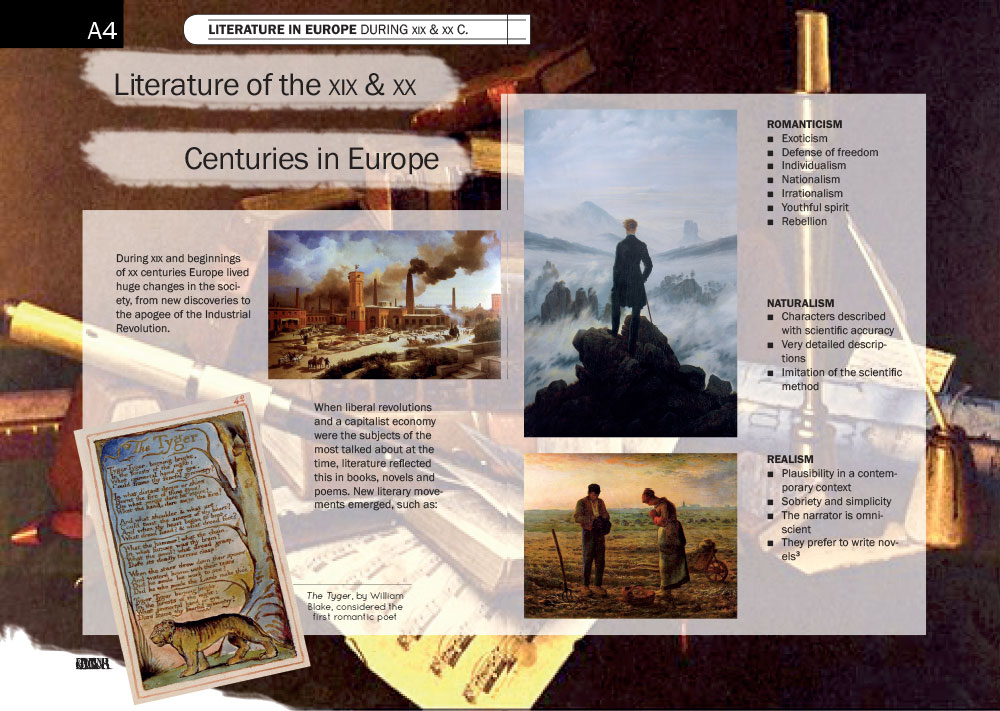 A description on Literature in Europe during the XIX and XX centuries