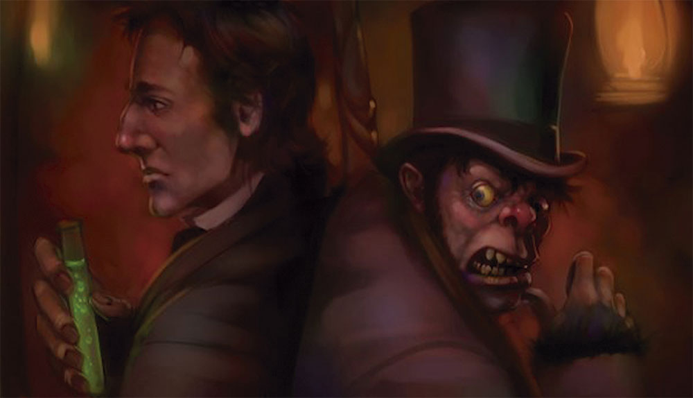 Both Dr. Jekyll and Mr. Hyde. Dr. Jekyll has a potion (drugs) in his right hand