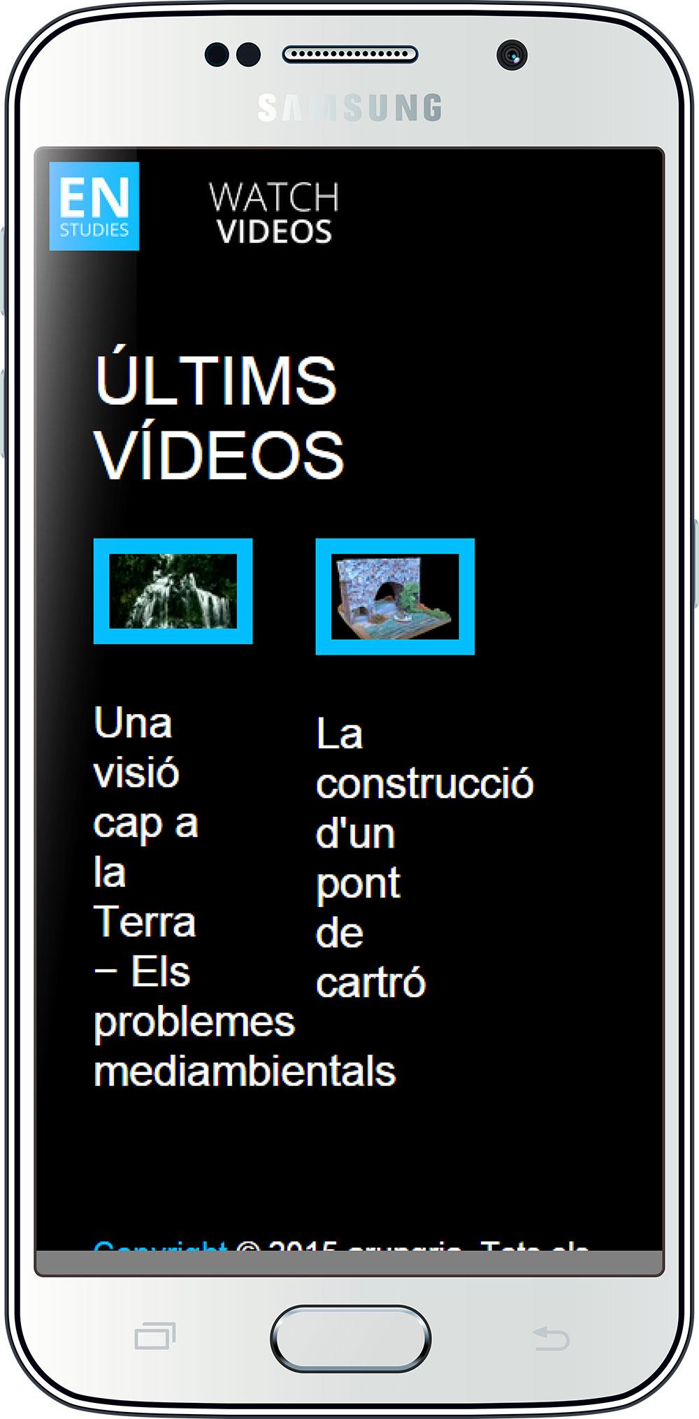 La pàgina dels vídeos vista des del mòbil