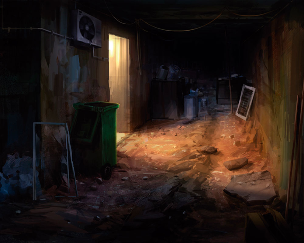 A basement with a putrid and suspicious stench.
