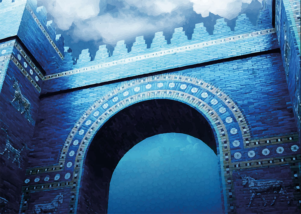 An illustration representing the Gates of the goddess Ishtar in Babylon