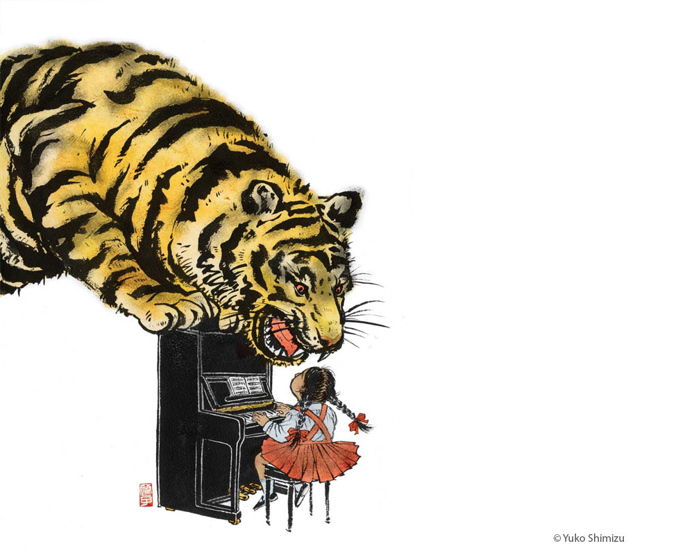 An illustration reflecting the tiger mother roaring at her daughter.